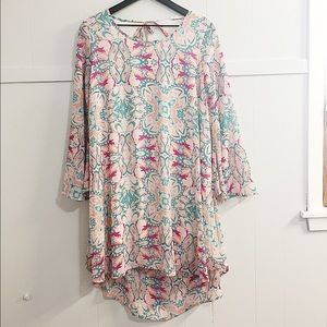 Pink Patterned Long Sleeve High Low Flowy Dress